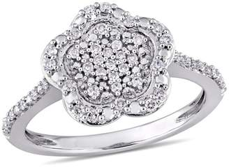 Laura Ashley English Garden 10K White Gold Diamond Ring