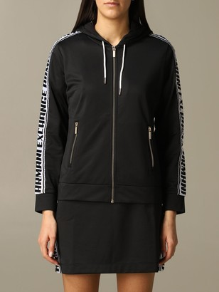 Armani Collezioni Armani Exchange Sweater Armani Exchange Sweatshirt With Hood And Logoed Bands