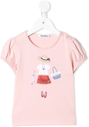 Familiar embroidered round-neck T-shirt