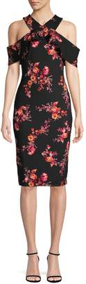 Rachel Roy Floral Cold-Shoulder Sheath Dress
