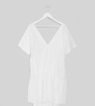 ASOS DESIGN Curve broderie v front v back tiered mini smock dress in white