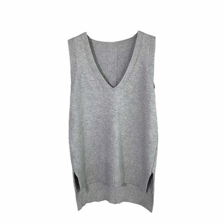 Veryc Women's Sleeveless Jumpers Knitted V Neck Pullover Vest Sweater Knitwear Tops (Grey One Size)