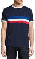 Fred Perry Tricolor-Striped Ringer T-Shirt, Blue