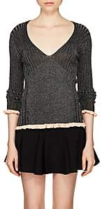 Chloé Women's Ruffled-Cuff Rib-Knit Silk-Blend Top - Black