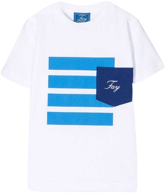 Fay White Teen T-shirt With Blue Stripes Print
