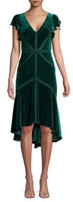 Taylor Flutter-Sleeve Velvet Cocktail Dress