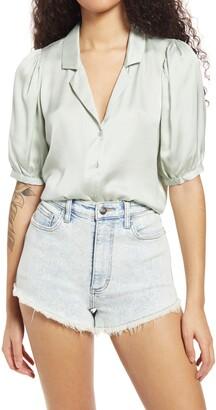 Lulus Sweet and Chic Silk Blend Satin Short Sleeve Button-Up Shirt