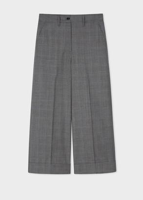 Women's Grey Glen Check Wool Cropped Wide Leg Trousers