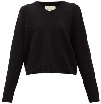 Gucci Logo-applique Wool Sweater - Black