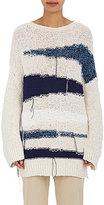TOMORROWLAND Women's Striped Cotton Oversized Sweater-BLUE
