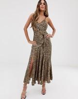 Asos Design DESIGN bias cut maxi slip dress in leopard print with bamboo belt