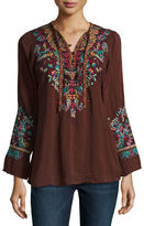Johnny Was Sheesoh Georgette Blouse w/ Embroidery, Plus Size
