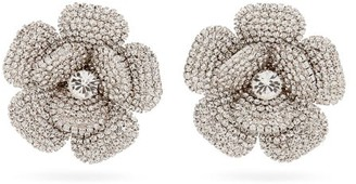 Alessandra Rich Crystal-flower Clip Earrings - Crystal