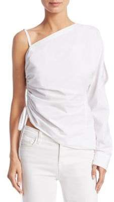 Alexander Wang One-Shoulder Cotton Ruched Top