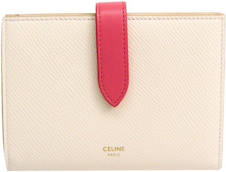 celine light pink leather medium strap wallet shopstyle shopstyle