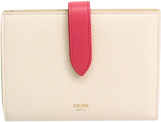 Celine Light Pink Leather Medium Strap Wallet