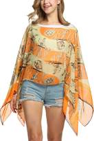 Zeagoo Womens Floral Printed Chiffon Caftan Poncho Tunic Top