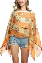 Zeagoo Womens Paisley Print Chiffon Shawls and Wraps Poncho Top Dress
