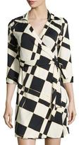 Julie Brown Milo Check 3/4-Sleeve Wrap Dress, Moonshine