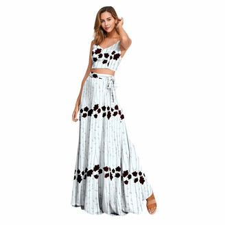 Toamen Women Floral Print Dress Suit Sets Sexy V Neck Camisole Vest Blouse Long Skirt Summer Beach Party(Light Blue 12)