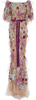 Marchesa Feather Embroidered Flutter Sleeve Dress