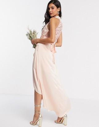 TFNC Bridesmaid halter neck wrap midi with lace insert in satin