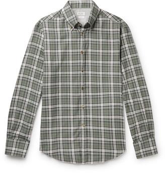 Brunello Cucinelli Button-Down Collar Checked Cotton-Twill Shirt