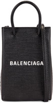 Balenciaga Shop Phone Holder Bag in Black | FWRD