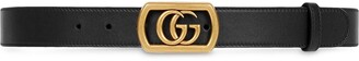 Gucci Leather belt with framed Double G