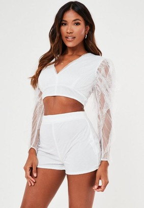 Missguided White Co Ord Dobby Mesh Shorts