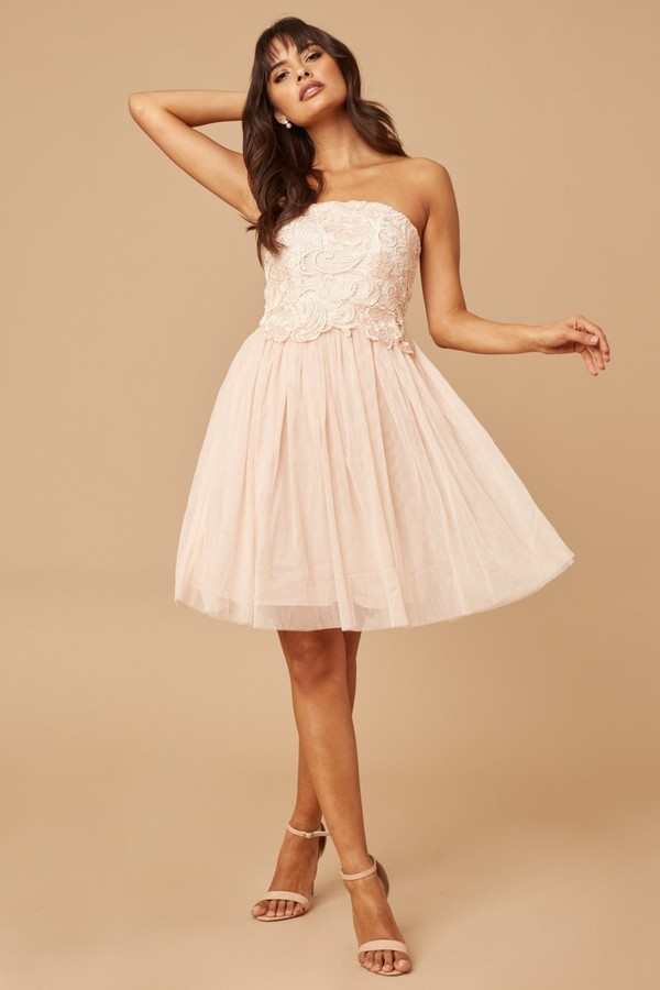 Thumbnail for your product : Little Mistress Cream/Nude Lace Overlay Bandeau Prom Dress