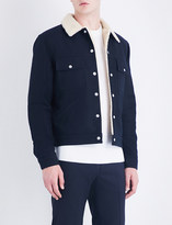 Sandro Faux-shearling cotton-drill jacket