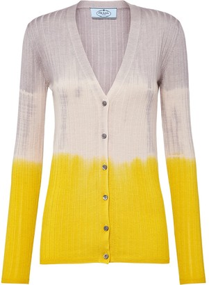 Prada Colour-Block Ribbed Cardigan