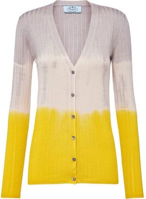 Prada Colour-Block Ribbed Cardigan