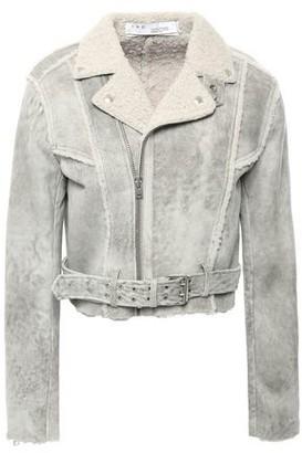 IRO Synal Cropped Suede-effect Shearling Biker Jacket