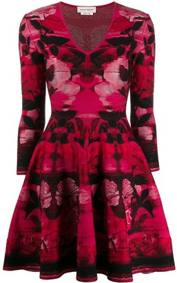 Alexander McQueen rose motif short dress