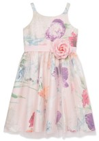 Youngland Girls 4-16 Spring Floral Mesh Easter Dressy Dress With 3D Flower At Waist