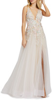 Mac Duggal 6-Week Shipping Lead Time Plunging Floral Embellished Tulle A-Line Gown