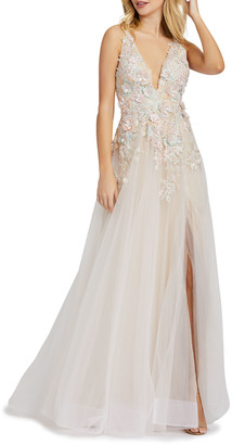 Mac Duggal Plunging Floral Embellished Tulle A-Line Gown