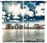 Navy Blue Curtains Americana Cityscape Decor New York Manhattan Skyline Photography Print Bedroom Living Dining Kids Youth Room 2 Panels Set Silky Satin Window Treatment, 108 x 84 inches, White Brown
