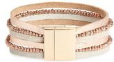 Panacea Multistrand Crystal & Leather Bracelet