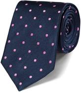 Charles Tyrwhitt Navy and pink silk classic spot tie