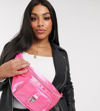 Asos DESIGN CURVE hot pink satin bum bag with hardware
