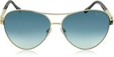 Roberto Cavalli Merga 905S Gold Metal Aviator Sunglasses w/Crystals