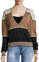 Free People Metallic Sparkle V-Neck Sweater