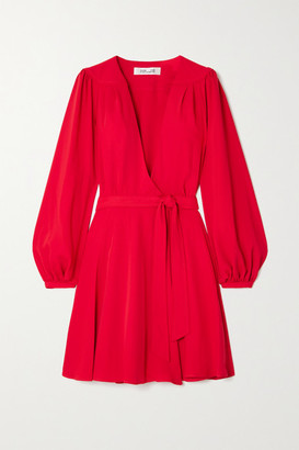 Diane von Furstenberg Londyn Crepe Wrap Mini Dress - Red
