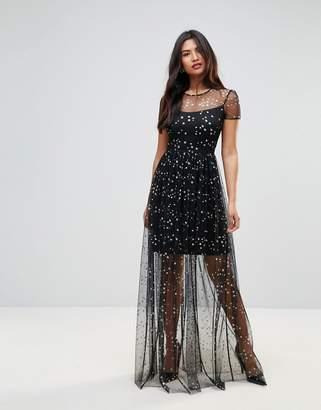 City Goddess Overlay Chiffon Maxi Dress In Star Print