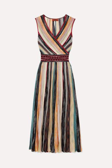 Missoni Wrap-effect Metallic Crochet-knit Silk-blend Midi Dress - Blush