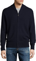 Neiman Marcus Cashmere Zip-Up Cardigan, Night Navy