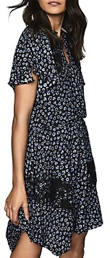 Reiss Amalia Ditsy Floral Print Lace-Inset Dress